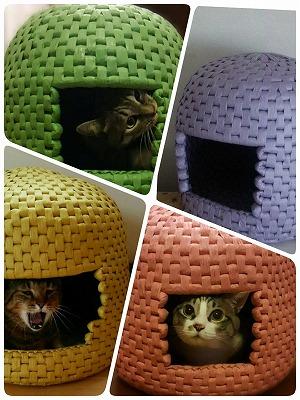 手編みで作る~紙紐(かみひも)で猫ハウス!